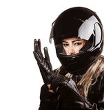 Fototapety Woman wearing motorsport outfit