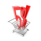 Five percent symbol in shopping cart