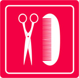 pink barbershop icon with scissors and comb silhouette poster