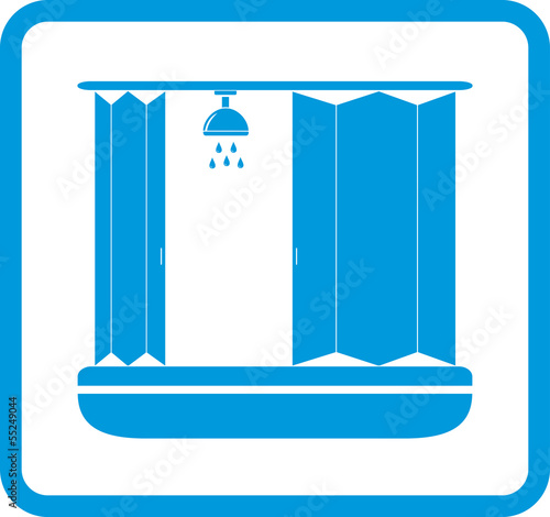 blue bathroom icon with shower room silhouette