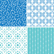 vector four abstract doodle motives seamless patterns set in