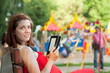 woman reads e-book