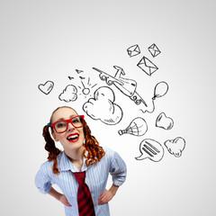 Funny girl in red glasses