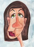 ugly woman. Watercolours on paper