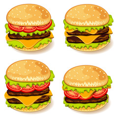 Illustration of various burgers.