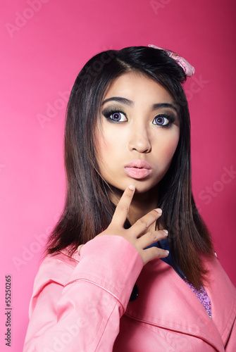 Attractiveness. Asian Brunette with Big Surprised Eyes
