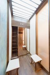 Contemporary apartment interior with wardrobe