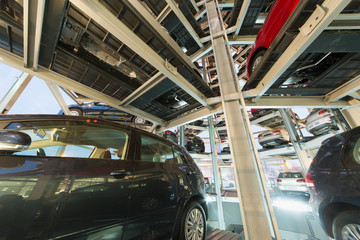 View from one of floors of multi-story automatic car parking