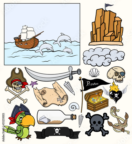 Pirates Elements Vector Set