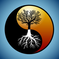 Tree and it's roots in yin yang symbol