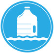 drinking water symbol with bottle, droplet and wave