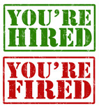 You're hired and You're fired stamps