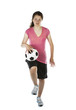 Young Girl Holding Soccer Ball on Thigh