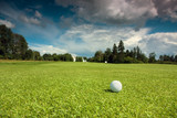 Golf ball on the course, green grass, blue sky and white clouds