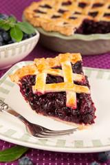 Slice of a blueberry pie