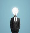 man with bulb head