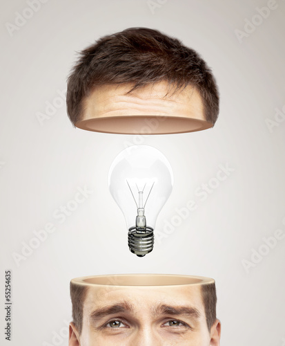 half head and light bulb