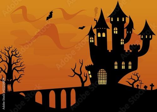 幽灵性质恐怖庆祝活动户外房子插图数字晚上景观月松