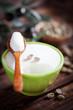 Green coffee beans dessert, selective focus
