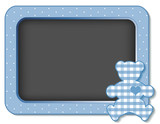 Baby Teddy Bear Nursery Bulletin Board, gingham, copy space