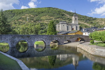 Roman bridge views in Molinaseca, Leon, Spain