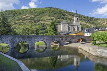 Roman bridge views in Molinaseca, Leon, Spain