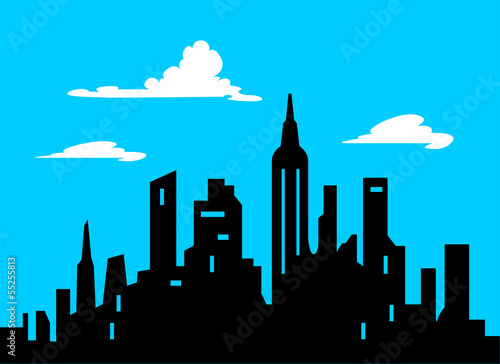 Graphic Style Cartoon City Skyline