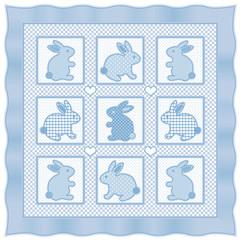 Bunny Rabbits Baby Quilt, big hearts, pastel polka dots, gingham