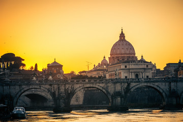 St. Peter's cathedral at dusk, Rome