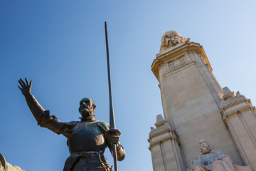 Miguel de Cervantes monument in Madrid