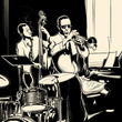 Jazz band with double-bass trumpet piano and drum - 55256850