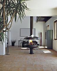 moderno camino di ferro nel soggiorno