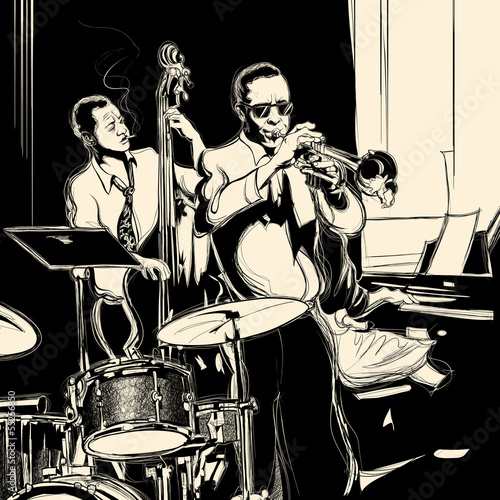 Jazz band with double-bass trumpet piano and drum © Isaxar