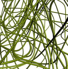 Green abstract cables line isolated on white background