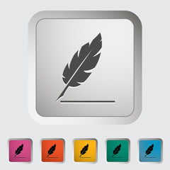 Feather. Single icon. Vector illustration.