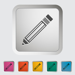 Pencil. Single icon. Vector illustration.