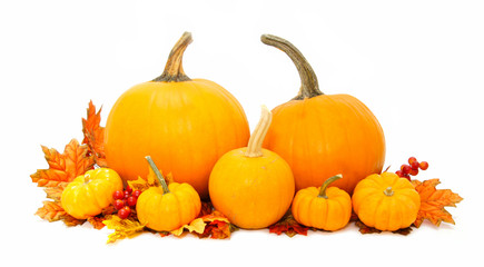 Arrangement of pumpkins with autumn leaves