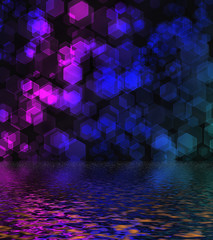 Hexagon bokeh background reflected in water surface.