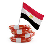 egypt flag in rescue circle, lifebuoy, life buoy