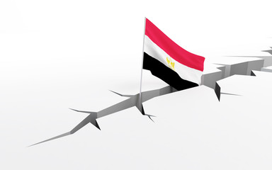 egypt flag crack in the ground