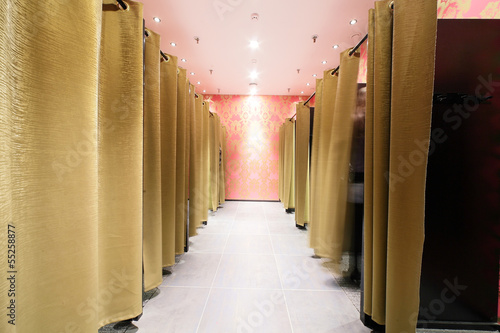 dressing room in clothes store