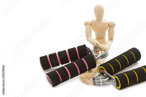 squeezing hand coil exercise equipment with wooden modle dummy
