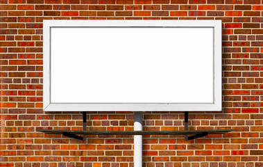 Billboard Advertising Sign on Brick Background
