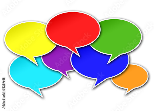 Colorful Chat Bubbles on White Background
