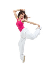 Pretty modern dancer girl jumping dancing