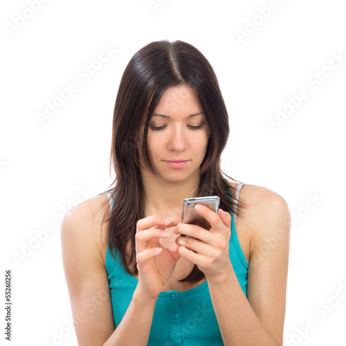 woman with mobile cellphone finger touch the screen