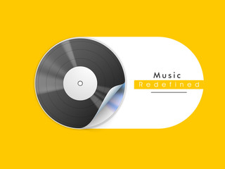 Musical background with vinyl disc on yellow background.