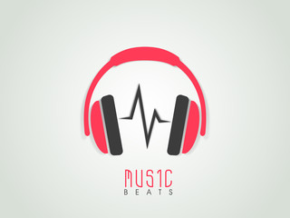 Musical background with headphone and beats, can be use as banne