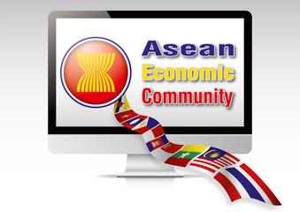 Asean Economic Community Flag Computer