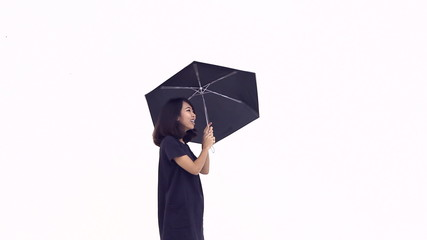 Happy woman with an umbrella on white background